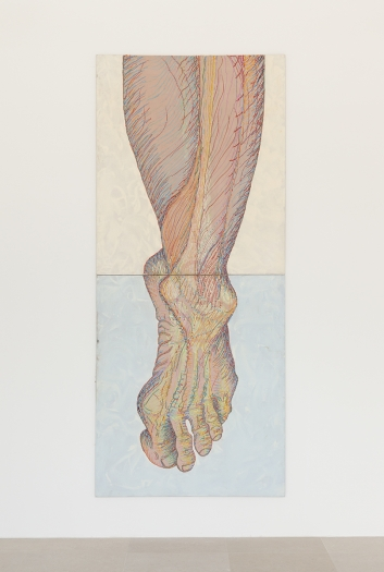 Paul Sharits Left Foot, 1982 Acrylic on canvas Overall: 112 x 48 inches (284.5 x 121.9 cm) Each: 56 x 48 inches (142.2 x 121.9 cm)