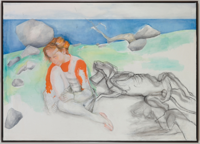 Katharina Wulff Maedchen mit Jagdhunden (Girl with Hunting Dogs), 2010 Oil and charcoal on canvas 52 1/2 x 73 3/4 inches (133.4 x 187.3 cm)