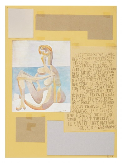 Richard Hawkins Ankoku 70 (Sand woman), 2012 Collage 19 1/4  x 16 x 1 inches 48.9 x 40.6 x 2.5 cm