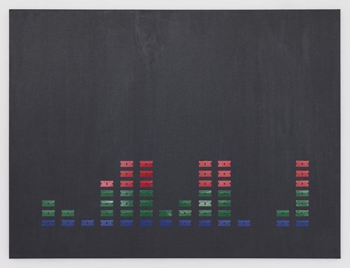 Nicolas Ceccaldi Equalizer 2, 2017 Acrylic and blades on canvas 30 x 40 inches (76.2 x 101.6 cm)