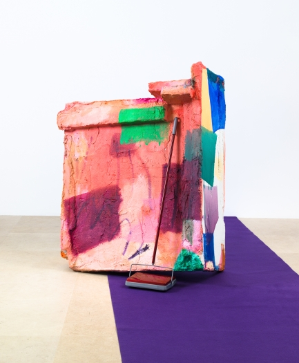Rachel Harrison The Death of Ironing, 2012 Polystyrene, cement, acrylic, carpet sweeper, and purple runway carpet Dimensions Variable 55 x 47 x 32 inches (Sculptural Element) 139.7 x 119.4 x 81.3 cm