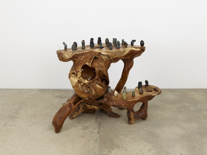 Haegue Yang Rooted Stones on Parallel Dimensions, 2016 Root carving, teak, suisekis, casters 45 5/8 x 62 1/4 x 34 5/8 inches (115.9 x 158.1 x 87.9 cm)