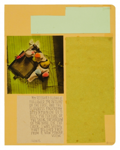 Richard Hawkins Ankoku 54 (Disbellmered), 2012 Collage 18 x 15 1/2 x 1 inches 45.7 x 39.4 x 2.5 cm