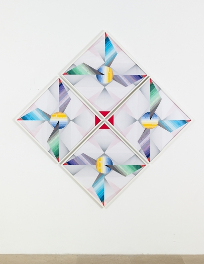 Haegue Yang Windmill - Trustworthy Triple Wings #251, 2015 Various envelope security patterns, graph paper, origami paper, framed Paper: 27 1/2 x 27 1/2 inches (70 x 70 cm) each Framed: 28 3/8 x 28 3/8 inches (72.2 x 72.2 cm) each