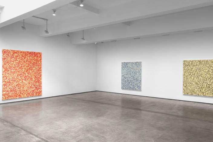 Installation view of paintings by Julian Lethbridge at Paula Cooper Gallery
