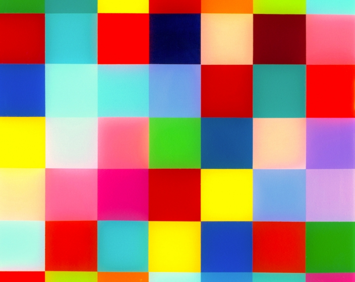 Heidi Spector, Boss' Life, 2018, Liquitex with Resin on Birth panel, 34 x 14 x 2 inches, multi-colored squares (red, blue, yellow, pink, orange, green)
