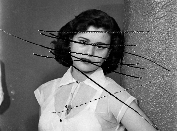 akram_zaatari_damage_negatives_scratched_portrait_of_mrs_bawari_from_the_series_photographic_phenomena_2012
