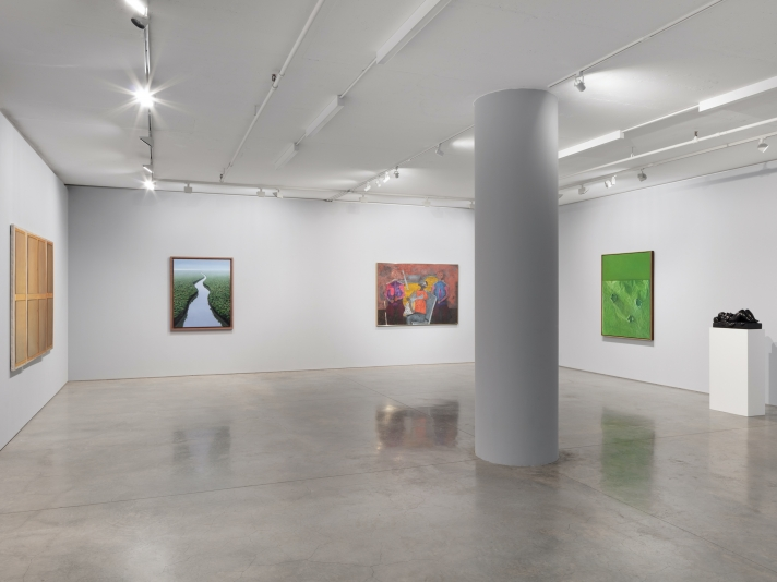 Installation view of hyperrealistic oil paintings by Claudio Bravo of a triptych depicting the wooden back of a canvas painting and green paper with holes over a green background. There is an acrylic painting by Tomás Sánchez of a river scene and trees in a wood frame. There is an oil painting by Rufino Tamayo featuring three colorful geometric figures and a bronze sculpture on a pedestal of a woman on a bed by Fernando Botero