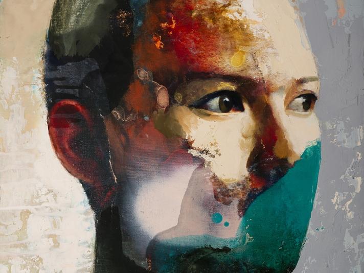 Faccia #4, Susan Moore, Oil On Canvas