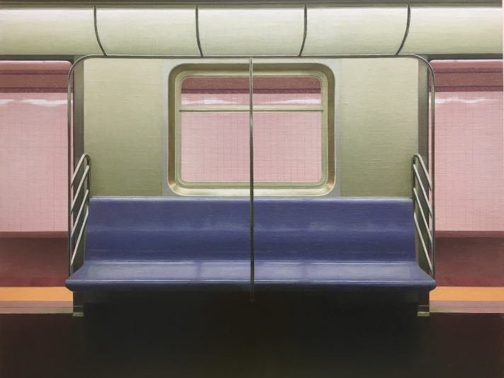 "E Train, 24"" x 30"", Oil on linen-mounted panel"