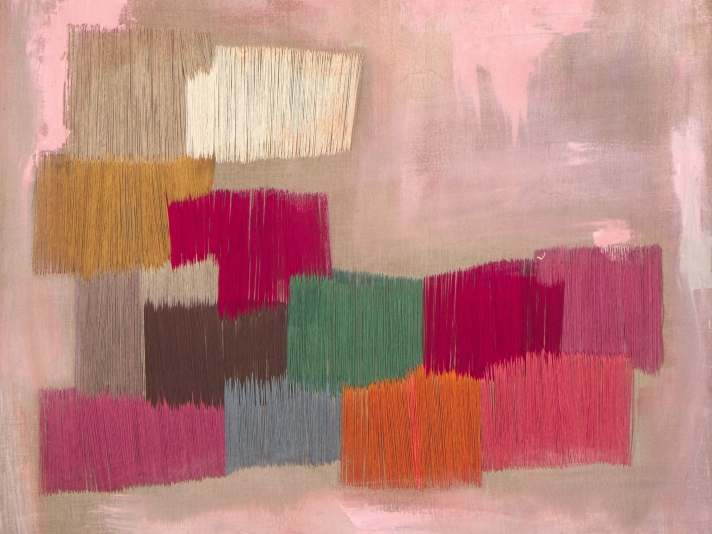 Natasha Das, Untitled Pink, Thread And Oil On Canvas
