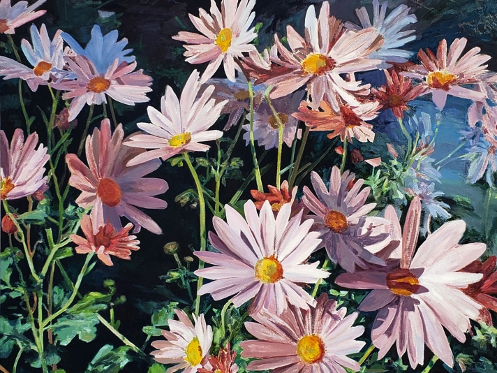 Naomi Chung, Autumn Mum, Oil On Canvas