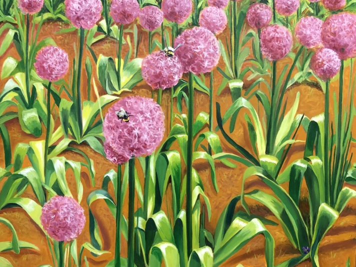 "Allium at Comcast, 60"" x 48"", Oil On Canvas"