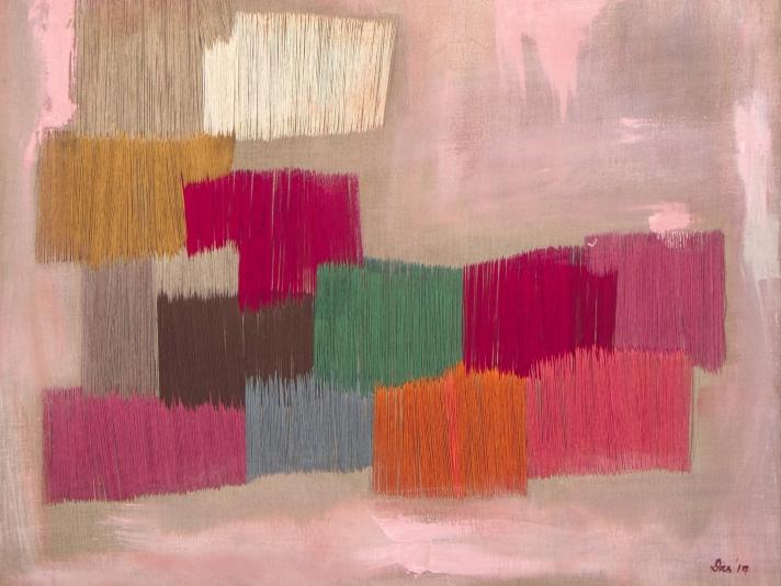 "Untitled Green Natasha Das 48"" x 60"" Oil And Thread On Canvas"