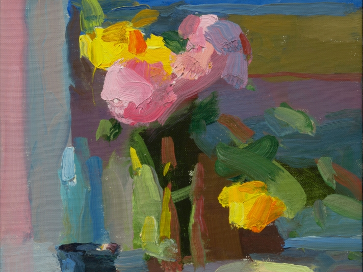 Cup And Bowl With Peonies And Tulips, 10 x 10, Oil On Linen