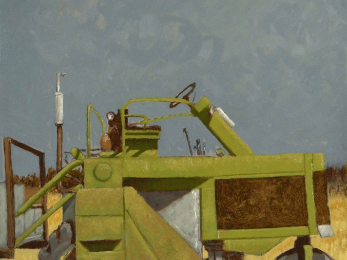 Ted Walsh, Green Tractor, Oil On Canvas