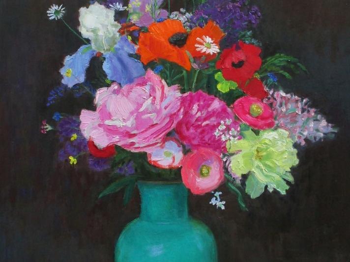 Frank Trefny, Night Bouquet, Oil On Canvas