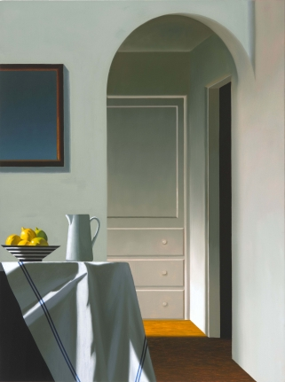 Bruce Cohen, Interior with Bowl of Lemons and Pitcher on Ledge, Oil on canvas