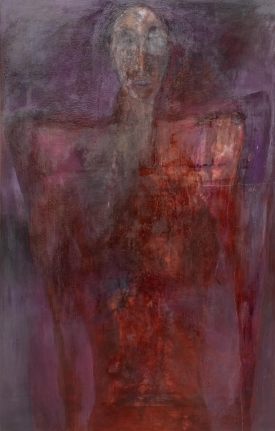 Gail Catlin, Untitled, Oil and mixed media on plexi torso