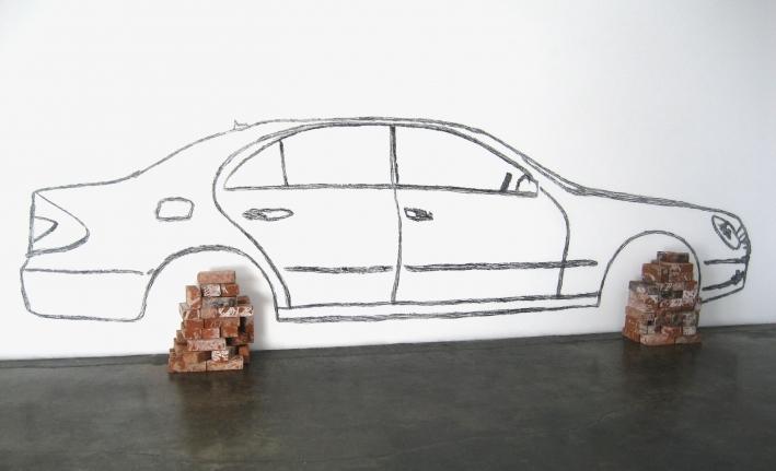Robin Rhode, Car on Bricks, Wall Drawing