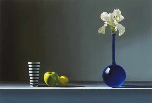 Bruce Cohen, Iris in Blue Vase with Apple and Lemon, 2017, Oil on canvas, Painting, Still Life
