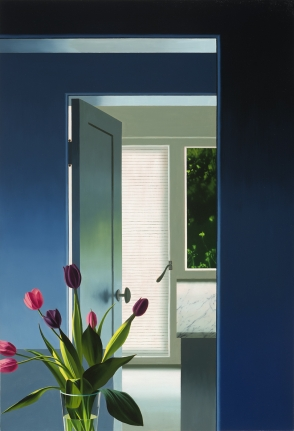 Bruce Cohen, Blue Interior with Tulips, Oil on canvas, Paintings, Still life