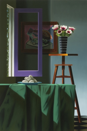 Bruce Cohen, Anemones in Striped Vase with Picasso, Painting, Still life, Oil on canvas