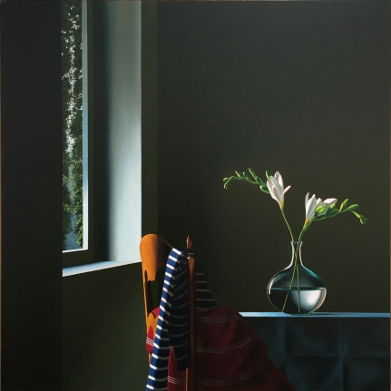Bruce Cohen, Interior with Fresias on Blue Tablecloth, 2016, Oil on canvas, Still Life