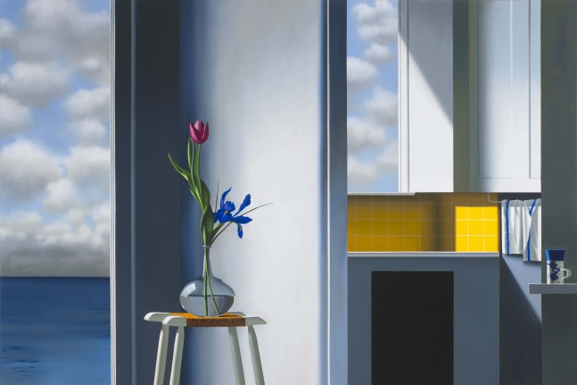 Bruce Cohen, Kitchen Interior with Seascape, Oil on canvas