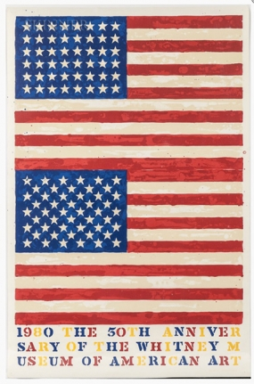 Jasper Johns, Two Flags (Whitney Anniversary), 1980, Lithograph