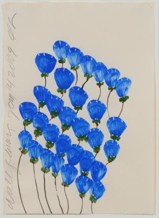 Donald Sultan, Wallflowers, Tempera Drawing