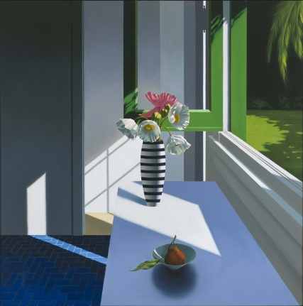 Bruce Cohen, Interior with Poppies in Striped Vase with Pear in Bowl, Oil on canvas