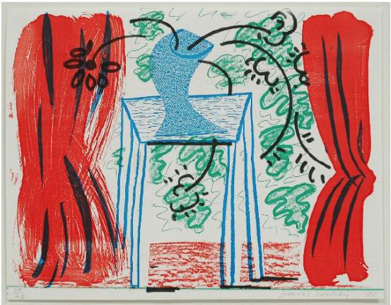 David Hockney, Still Life with Curtains, March 1986, print, edition