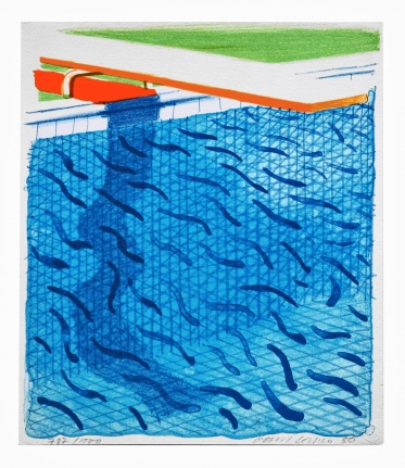 David Hockney, Pool Made with Paper and Blue Ink for Book, Lithograph