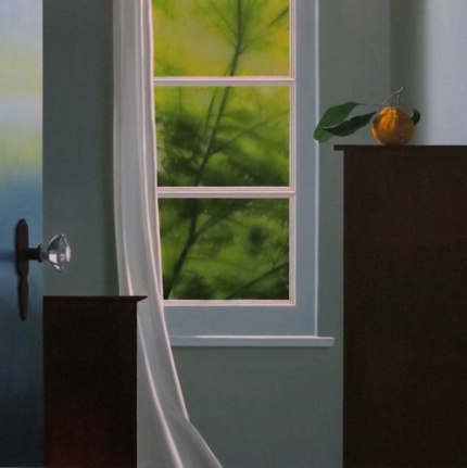 Bruce Cohen, Interior with Tangerine, Oil on Canvas