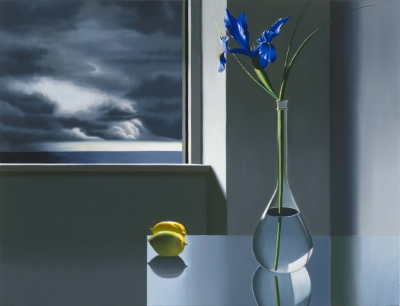 Bruce Cohen, Iris and Lemons on Glass Table, Oil on canvas
