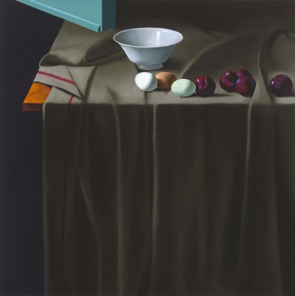 Bruce Cohen, Still Life with Eggs, Plums and Bowl, Oil on canvas