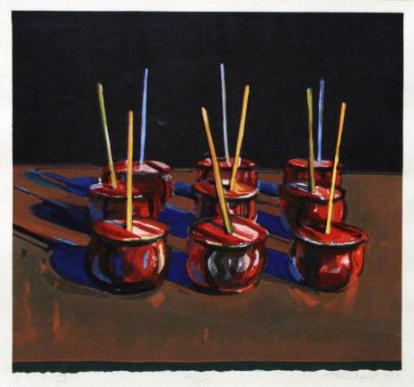 Wayne Thiebaud, Candy Apples, Woodcut