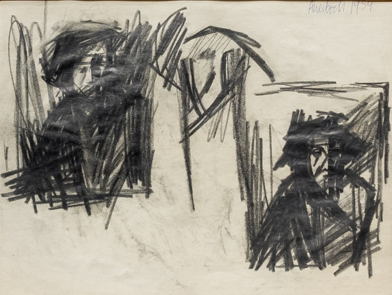 Frank Auerbach, Study of the Brazen Serpent, drawing