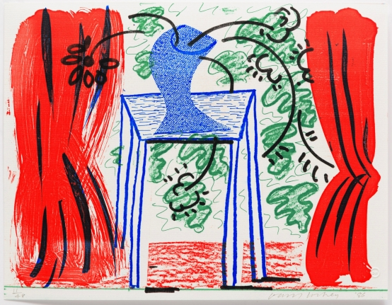 David Hockney, Still Life with Curtains, March 1986, print, edition