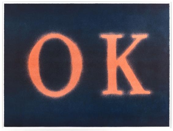 Ed Ruscha, OK (State I) 1990, Signed Lithograph