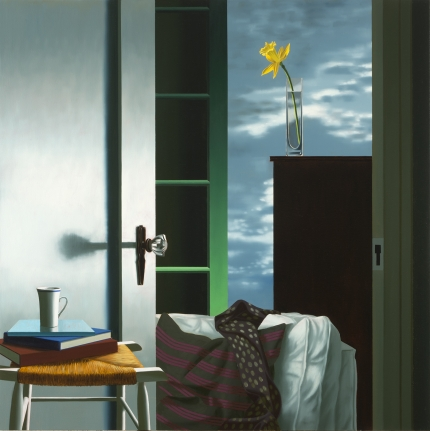 Bruce Cohen, Interior with View of Buttermilk Clouds, Oil on canvas, painting, still life