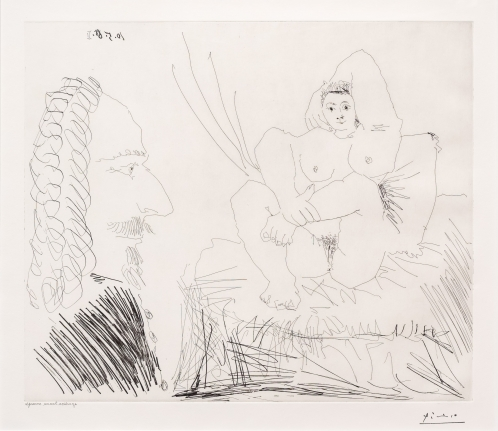 Pablo Picasso, Courtisane au lit avec, Etching
