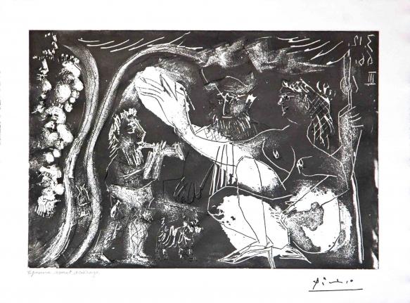 Pablo Picasso, Au Theatre: Couple Avec un Flutiste et un Petit Chien, from the 60 Series, 1966