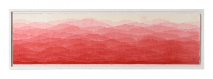 Minjung Kim, Red Mountain, Watercolor on Mulberry Hanji