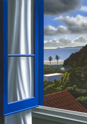 Bruce Cohen, Blue Window with View from Adelaide Street, Oil on canvas