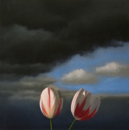 Bruce Cohen, Tulips and Clouds, Oil on Canvas