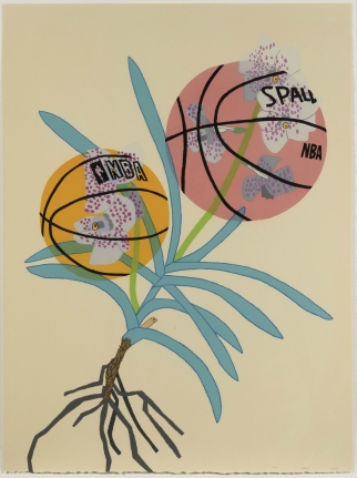 Jonas Wood, Double BasketBall Orchid 2 (State I), 2020, Lithograph