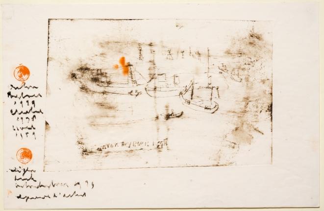 Anton Heyboer, Ijmuiden Voor Lieve Maria, Etching with hand coloring