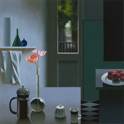 Bruce Cohen, Interior with Coffee Pot and Poppies, Painting, Oil on canvas, Still life